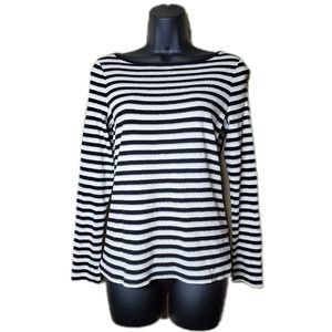 Women's Petite Black and White Glitter Striped Top